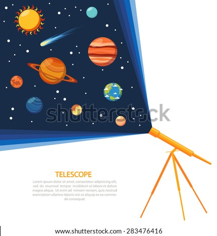 telescope with solar system