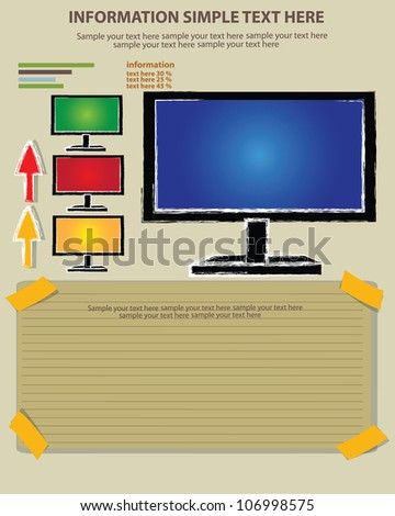 Television and blank paper,Vector