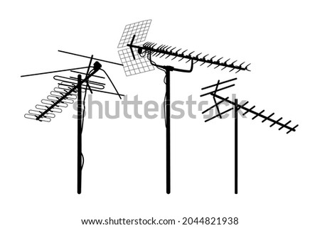 Television antenna icons set isolated on white background. Silhouettes of different television aerials. Tv antenna sign or symbol. Television rooftop antennas. Technology. Stock vector illustration Stock fotó ©