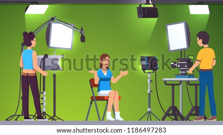 Television presenter, cameraman & assistant working in green screen studio with stage lighting equipment, microphone and professional camera. Video production & broadcasting. Flat vector illustration