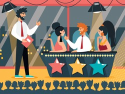 Television Presenter Stand in front of Desk with Celebrities Judges Discussing Artists Performances and Voting with Buttons on Talent Show Entertainment Program. Cartoon Flat Vector Illustration.