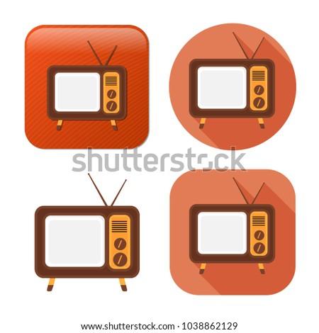 television screen icon - media icon - broadcast symbol - movie show sign
