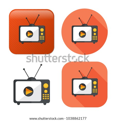 television screen icon - media icon - broadcast symbol - movie show sign