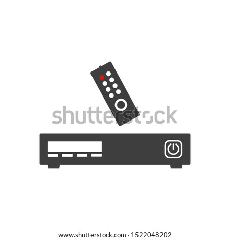 Television set top box flat icon. Isolated on white background.