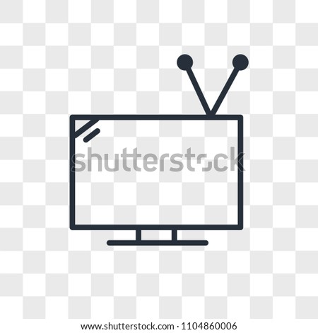 Television with antenna vector icon isolated on transparent background, Television with antenna logo concept