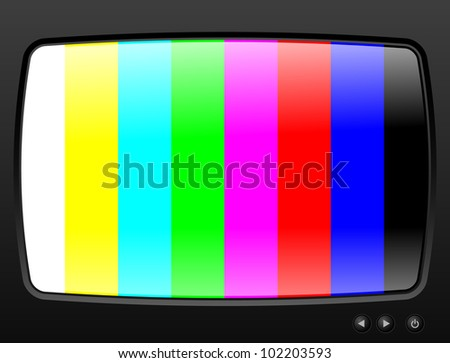 Television with test image closeup