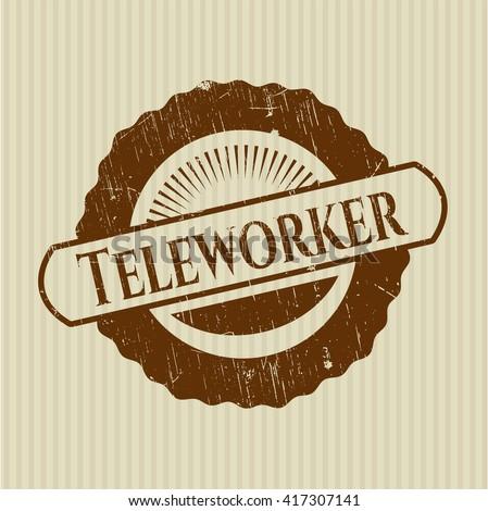 Teleworker grunge style stamp