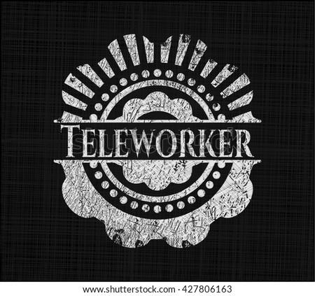 Teleworker on blackboard