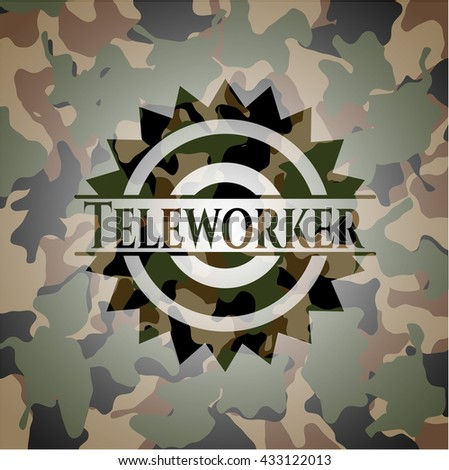 Teleworker on camouflage texture