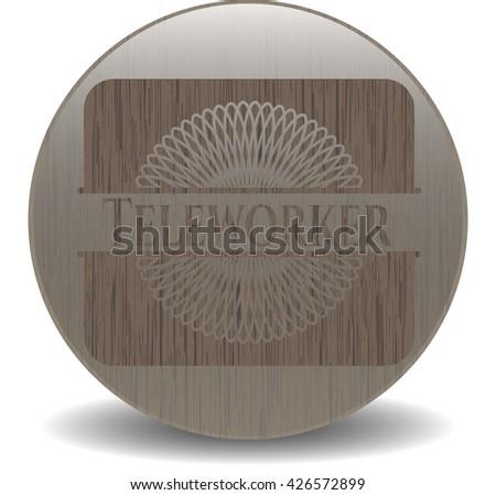 Teleworker realistic wood emblem