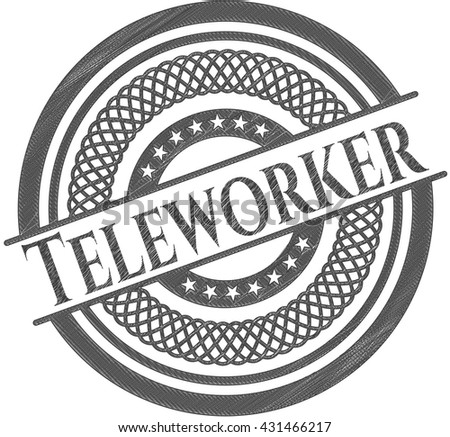 Teleworker with pencil strokes