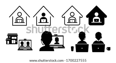 Teleworking from home work remote vector icon set illustration black and whiteTeleworking from home work remote vector icon set illustration black and white