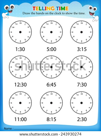 Telling Time Worksheet For Pre School Kids To Identify The Time ...