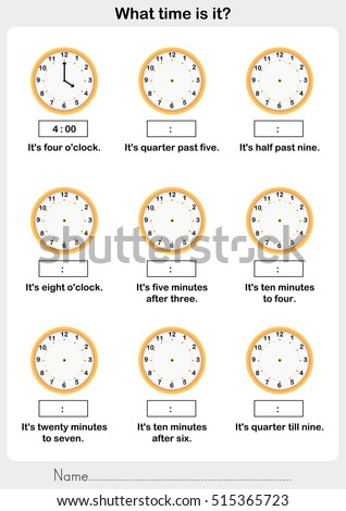 Telling time worksheet. write the clockwise and time on the clock