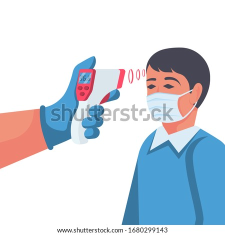 Temperature check. Doctor holding a non-contact thermometer in hand. Mask on the face. Coronavirus prevention. Epidemic 2019-ncov. Vector illustration flat design. Isolated on white background. Foto stock ©