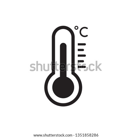 Temperature flat vector icon. . Weather, hot and cold climate  for web site, mobile app design.Medicine thermometer.