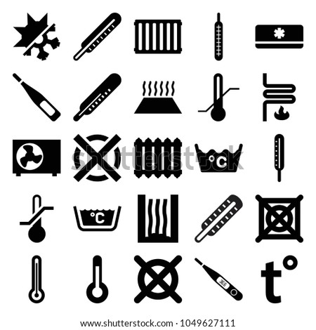 Temperature icons. set of 25 editable filled temperature icons such as thermometer, laundry, no dry cleaning, heating system, air conditioner, temperature, cold and hote mode