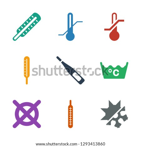 temperature icons. Trendy 9 temperature icons. Contain icons such as cold and hot mode, thermometer, no dry cleaning, laundry. temperature icon for web and mobile.