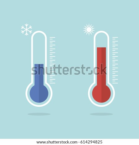 Temperature logo. Thermometer icon. Measuring hot and cold temperature
