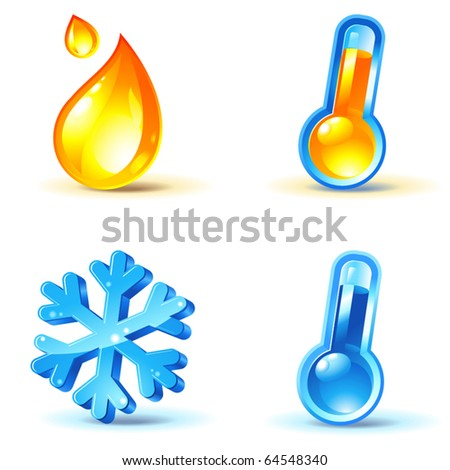 temperature or climate control icons : heating and cooling