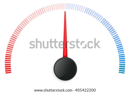 Temperature scale. Semi-circle dial. Vector illustration isolated on white background