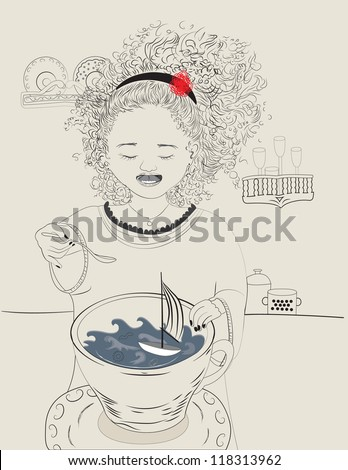 Tempest in a tea cup - stock vector
