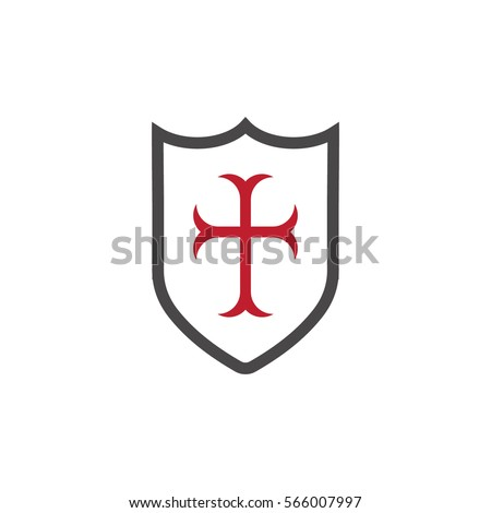 templar shield with red cross