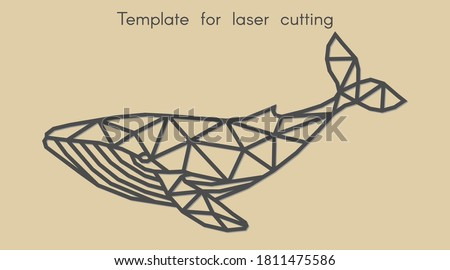 Template animal for laser cutting. Abstract geometric whale for cut. Stencil for decorative panel of wood, metal, paper. Vector illustration. Stockfoto ©