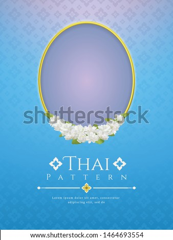 template background for Mother's day thailand with modern line Thai pattern traditional concept and frame beautiful Jasmine flower.