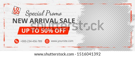 Template banner and cover for social media ad, template special promo new arrival sale,design with red color
