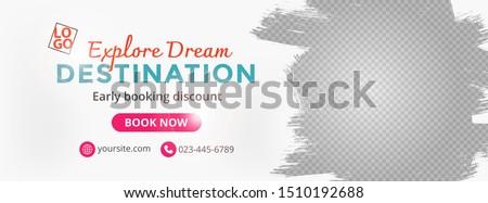 Template banner for social media, web banner for travel ads, eps 10