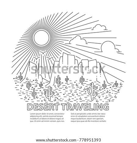 Template banner with desert landscape. Circle banner with Desert dayly landscape on white background. Flat line style travel banner. Vector illustration.