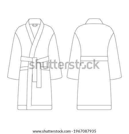 Template bathrobe vector illustration flat sketch design outline ストックフォト ©