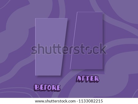 Template before and after background. Comparison ultra violet card with empty space. Vector illustration. Stockfoto ©