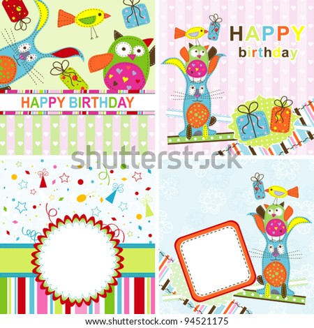 Template birthday greeting card, vector illustration