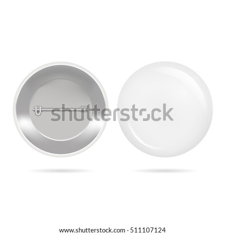 Template Blank White Button Badge. Realistic Empty Mock Up. Vector illustration of two side plastic round frame.Tin decoration pin with place for your text