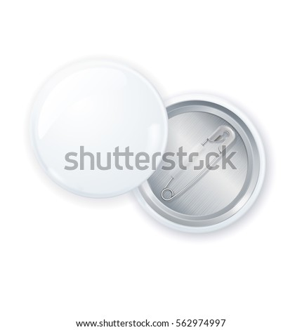 Template Blank White Circle Button Badge Pin Front and Back Side Empty Mock Up . Vector illustration
