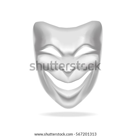 Template Blank White Comedy Mask Theatre. Realistic Empty Mock Up ...
