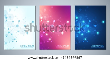 Template brochure or cover book, page layout, flyer design with abstract background of molecular structures and DNA strand. Concept and idea for innovation technology, medical research, science.