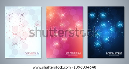 Template brochure or cover with abstract chemistry background of chemical formulas and molecular structures. Science and innovation technology concept