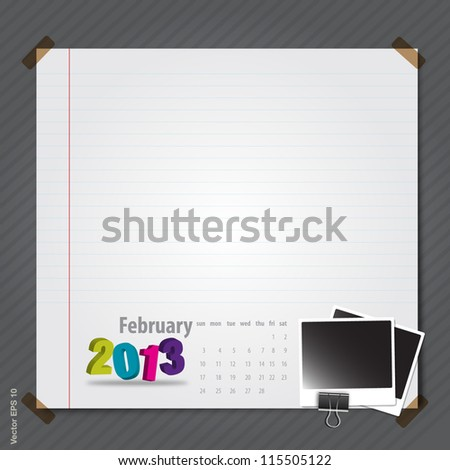 Template calendar 2013 february, vector format