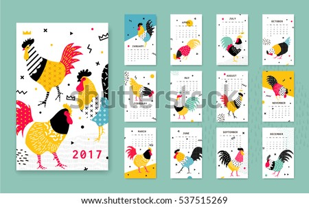Template calendar 2017 with a rooster in Memphis style. Rooster symbol of Chinese New Year. 12 illustrations of birds with different geometric ornaments in the style of 80-90.