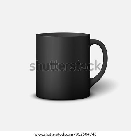 Template ceramic clean black mug with a matte effect, without the bright glare, isolated on a white background