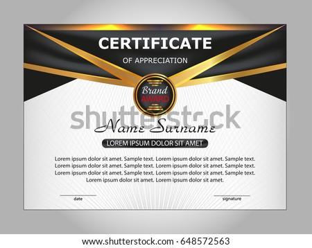 Golden premium diploma certificate design download free vector art template certificate of appreciation elegant design vector illustration yadclub Gallery