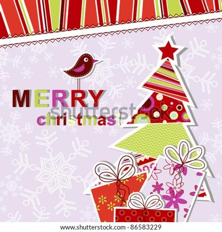Template christmas greeting card, vector illustration