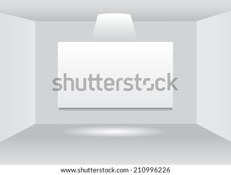 template. Clean sheet of paper on a wall indoors under a ray of light