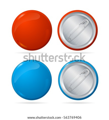 Template Color Blank Circle Button Badge Pin Set Front and Back Side Empty Mock Up. Vector illustration
