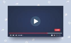 Template colorful multimedia frame. Mockup live stream window, player. Online broadcasting. Social media concept. Vector illustration. EPS 10
