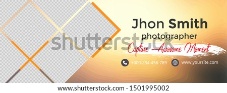 Template cover and banner social media for photography, template design with abstract shapes, white and black color design, template with blur background