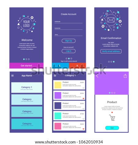 Template design application. Registration and login pages. Onboaring. Sign in. Forms login. E-commerce, menu, product categories.